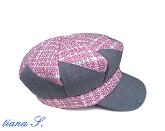 Patchwork cap, pink-grey, balloon cap; Gr. s