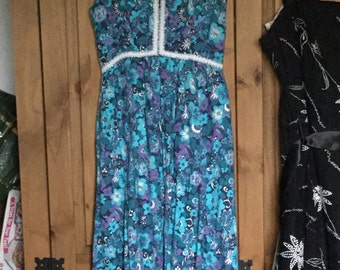 1960s Merlith Blue flower print dress