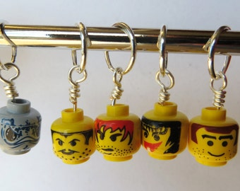 Toy Building Brick Head Stitch Markers Set of 5 Snag Free