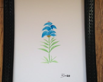 Blue Flower Original Watercolor Art