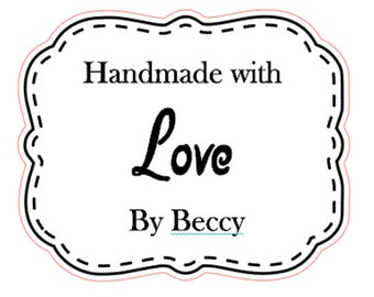 48 x Vintage style Personalised Handmade with Love Business stickers
