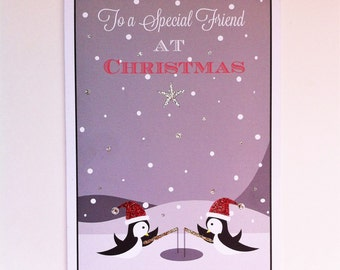 Special Friends Sparkly Handmade Christmas Card In A Penguin Design