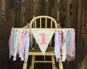 High Chair Banner, First Birthday, 1st Birthday, Girl Banner, Princess Inspired, Burlap Banner, Baby Shower Banner, Pink and Gold Banner