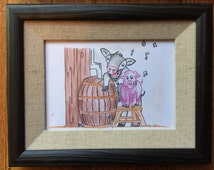 Framed Cow and Pig Illustration