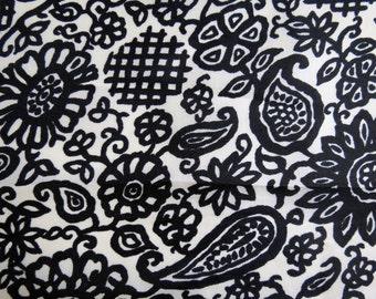 Paisley Black n White Print Italian Silk.