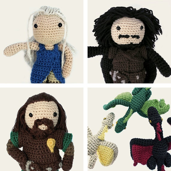Game of Thrones Pack: Daenerys, Jon Snow, Ned Stark & Daenerys Dragons. Amigurumi Pattern PDF.