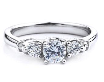 3 Stone Diamond Ring in 14K White Gold
