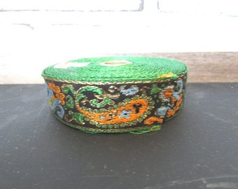 Green and Gold Trim Vintage Embroidered Sewing Trim 3 Yards
