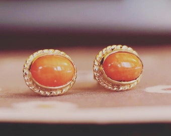 9ct Gold Coral Vintage Earrings