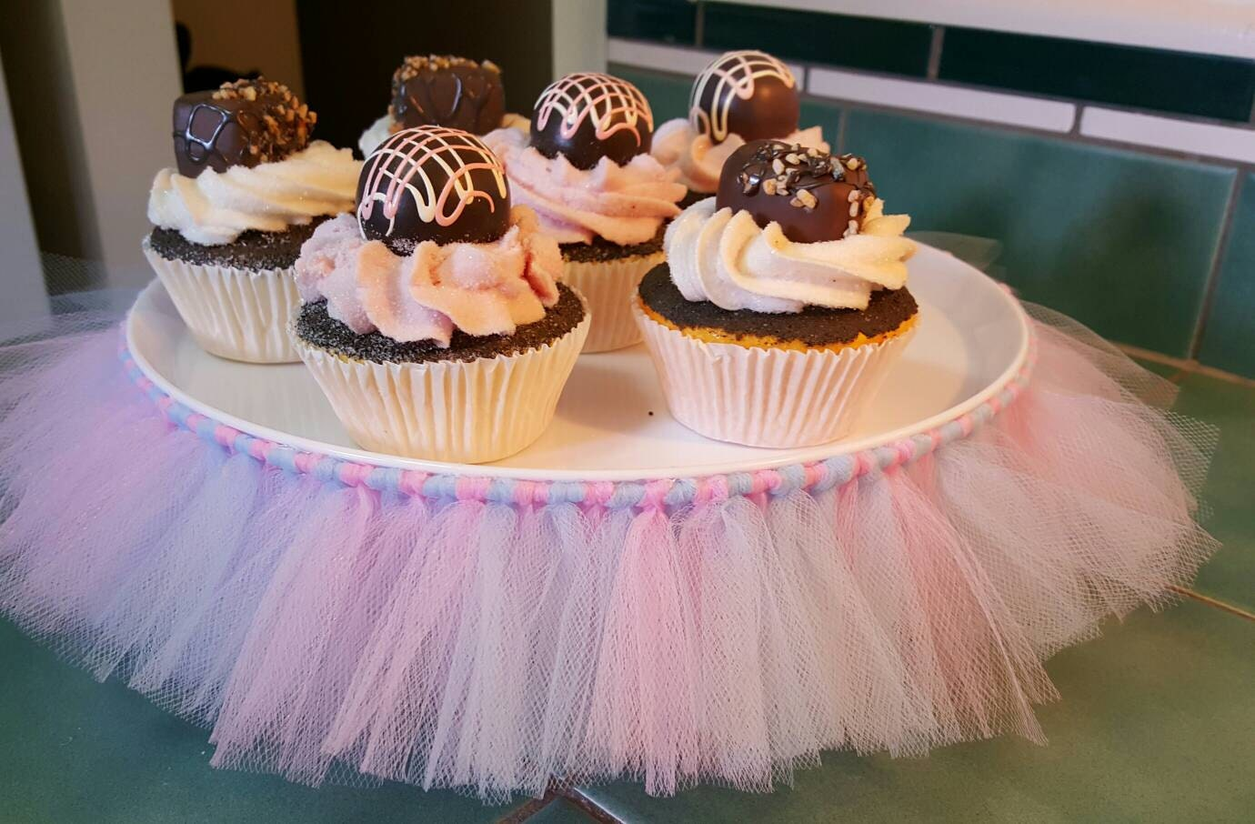 Cake Stand Tutu Pink Blue Gender Reveal Cupcake Tulle Skirt