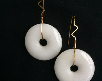 Brass and Stone Earrings - White