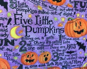 Five Little Pumpkins Halloween fabric, Halloween fabric, fall fabric, story fabric, pumpkin fabric, Susan Winget