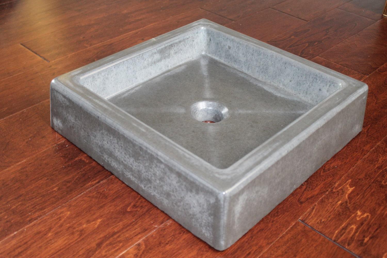 Concrete Sink : Shallow Concrete Vessel Sink