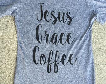 Jesus, Grace & Coffee JUNIOR womens triblend tee