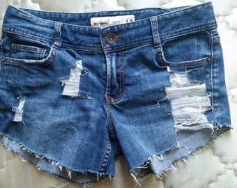 Distressed Denim Low Rise Shorts