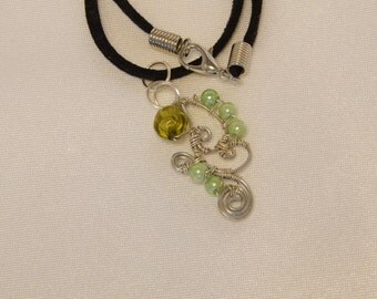 Green wire-wrapped necklace