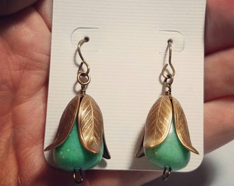 Earrings - Brass Magnolia with Turquoise Colored Beads