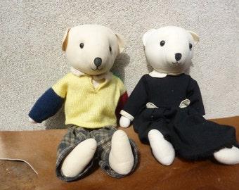 lot of 2 Teddy bear fabric made hand boy girl old vintage bear