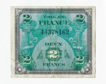 Vintage Currency, France Allied Military Currency, WWII, 2 Deux Francs, 1944 VF, Circulated