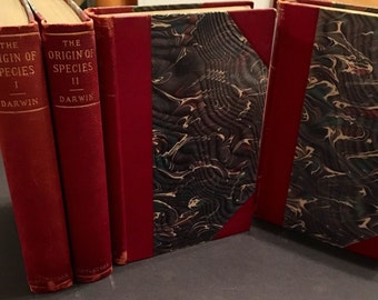 1897 Works of Charles Darwin, Four-Volume Antique Leather-bound Book Set, Origin of Species, Insectivorous Plants, Expression of Emotion