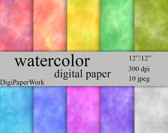 Watercolor Digital Paper, Watercolor Instant download watercolor background for Personal and Commercial Use