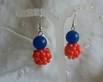 Coral bead with  blue quartz rounds bead .