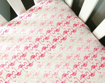 Flamingo fitted crib sheet | pink and white nursery | flamingo crib bedding | pink crib sheet | changing pad cover flamingo | SHIPS TODAY