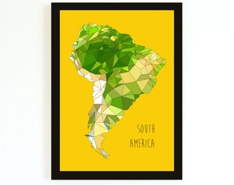 SOUTH America - Giclee Print - Yellow - Limited edition - FREE SHIPPING
