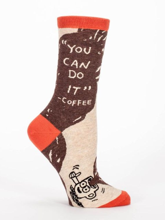 Women's Crew Socks  - You CAn Do It Coffee -  Funny, Cool, Novelty Gifts, Christmas Gift