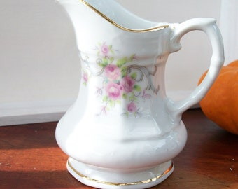 Vintage Mini Porcelain Pitcher Creamer Pink Cascading Roses Hand Painted Cottage Chic Dainty Victorian REDUCED