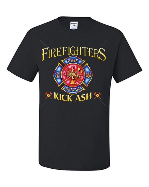Firefighters kick ash funny t shirt fireman volunteer by for Kicks on fire t shirt