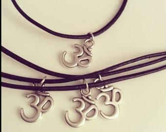 Tibetain silver vegan leather om friendship bracelet