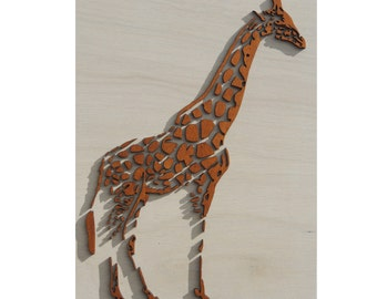 3D giraffe, with laser cut wall decor from wood