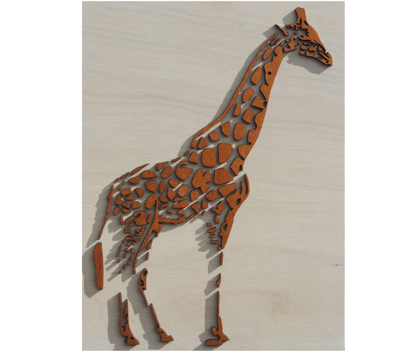 Girafe 3d avec laser cut décoration murale bois par paspartoet