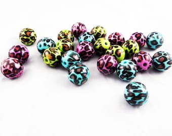 PD44 - 10 Mouchetees reasons Leopard mixed color green blue purple and black pearls / 10 parts Beads Green Blue Purple & Black leopard