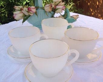 Set of Four Pretty Opalescent Vintage Arcopal Teacups