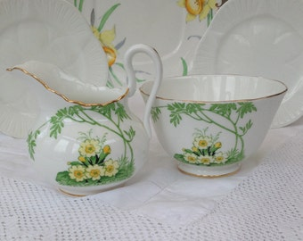 Ever So Pretty Primula Vintage Creamer & Sugar Bowl