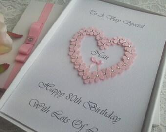 Large Personalised Birthday Card Handmade 3D Heart 16th 18th 20th 30th 40th 50th 60th 70th 80th Mother Grandmother Aunt Sister Daughter