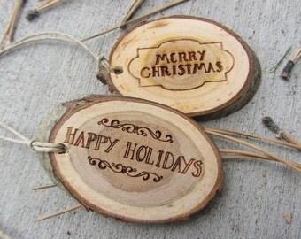 Christmas Gift Tags   Rustic Wood Slice Gift Tags   Set of 10