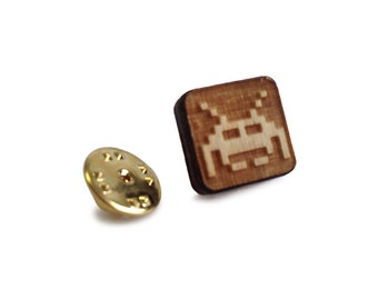 Wooden Tie Pin: Space Invader FREE WORLDWIDE SHIPPING
