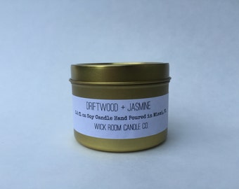 Driftwood + Jasmine Scented Soy Candle