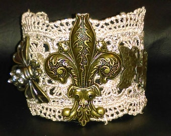 Cuff Bracelet with White Lace and Large Fleur-de-lis, Honey Bee and Butterfly