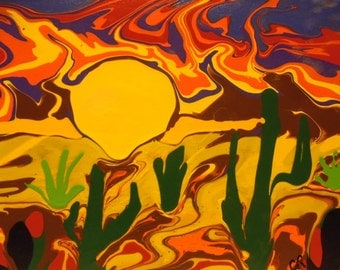 Desert Sun abstract acrylic 8x10