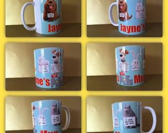 secret life of pets max chloe duke gidget personalised mug cup gift  illuminati