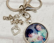 custom photo keyring, key chain. personalised key chain, photo keyring. Gift for her, Handbag charm. Gift idea.