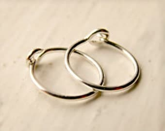 Tiny Sterling Silver Hoop Earrings-  Cartilage Hoop Earrings, Lobe/Cartilage/Helix