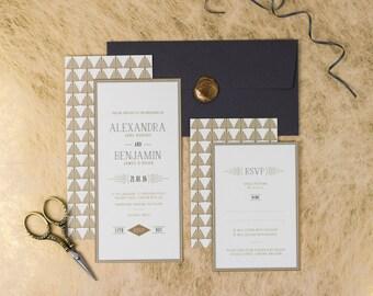Charleston Suite // 1920's Art Deco Wedding Stationery // Invitation & RSVP