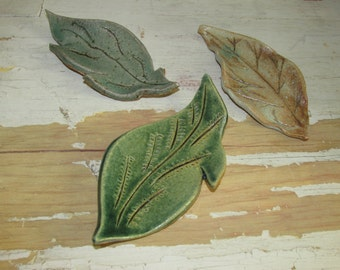 Three Small Ceramic Leaves