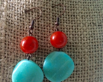 Turquoise and red earings