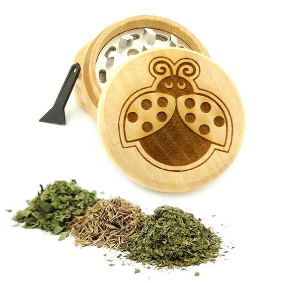 Ladybug Engraved Premium Natural Wooden Grinder Item # PW61716-4
